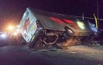 Bus Eka Terguling di Kertosono, Dua Tewas