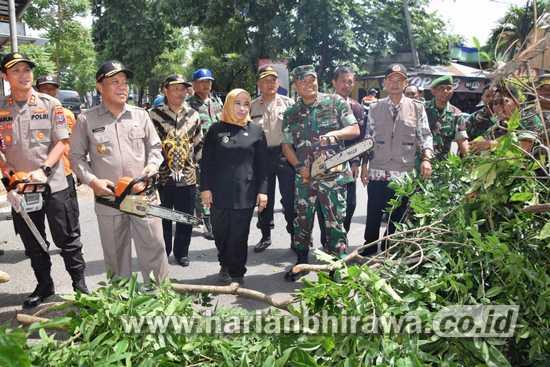 Dinas PRKP dan Forpimda Pemkab Lamongan Lakukan Pemangkasan Pohon