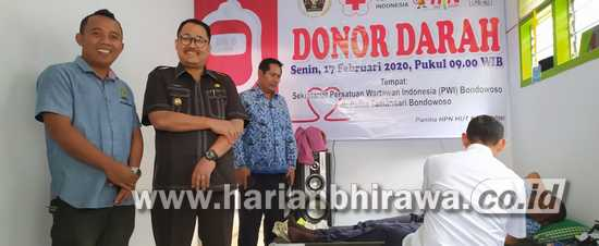 Peringati HPN 2020, PWI Kabupaten Bondowoso Gelar Baksos Donor Darah