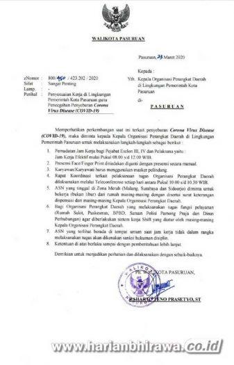 Cegah Covid-19, Jam Kerja ASN Pemerintah Kota Pasuruan Dibatasi