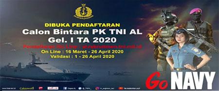 Pendaftaran Calon Bintara PK TNI Angkatan Laut Tahun 2020