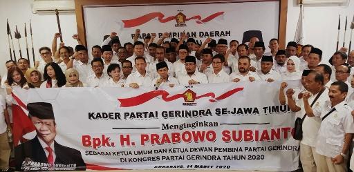 Rapimda Gerindra Jatim Putuskan Dukung Prabowo di Kongres 2020
