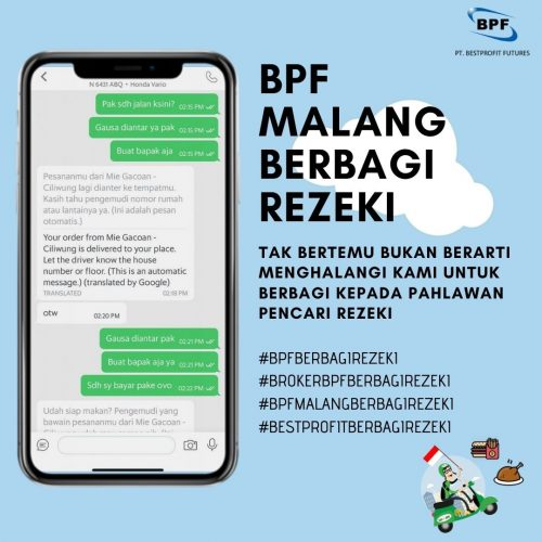 PT Best Profit Futures Cabang Malang Berbagi untuk Driver Ojol