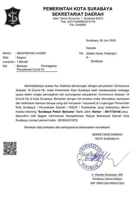 Tangani Covid-19, Pemkot Surabaya Galang Dana Pegawai
