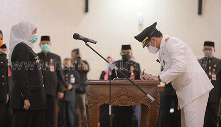 Gubernur Khofifah Lantik Teno Jadi Wali Kota Pasuruan