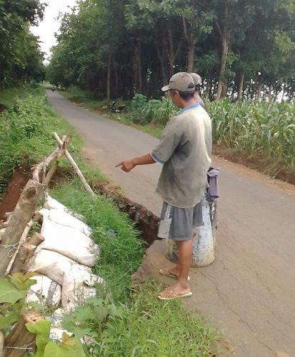 Jalur Sawahan-Wilangan Kabupaten Nganjuk Ambrol di Dua Titik