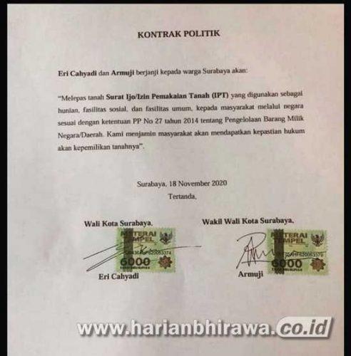 Warga Surat Ijo Tak Percaya Kontrak Politik Pelepasan Surat Ijo Eri-Armuji