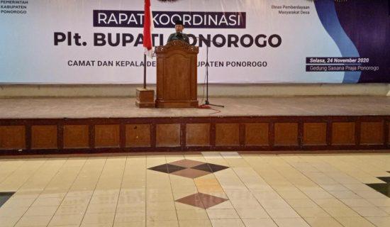 Plt Bupati Pimpin Rakor Camat dan Kades se-Kabupaten Ponorogo
