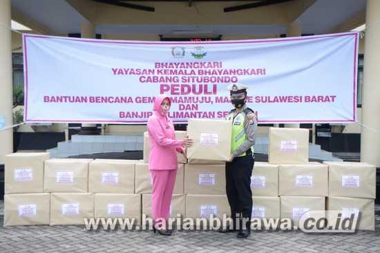 Kemala Bhayangkari Situbondo Salurkan Bantuan Korban Banjir Kalsel dan Gempa Sulbar