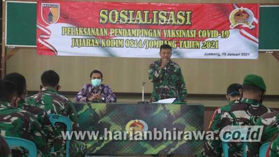 Kodim 0814 Jombang Sosialisasikan Vaksinasi Covid-19 pada Babinsa
