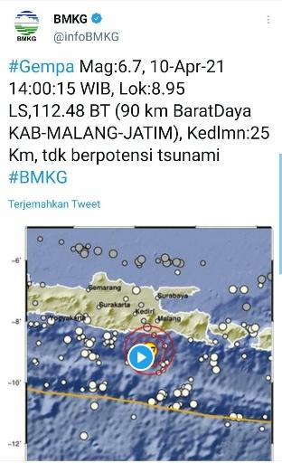 Pakar Geologi Sebut Malang Selatan Rawan Gempa