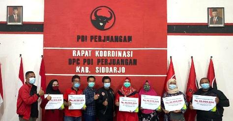 BPJS Ketenagakerjaan Sidoarjo Salurkan Santunan Jaminan Kematian ke Kader PDIP