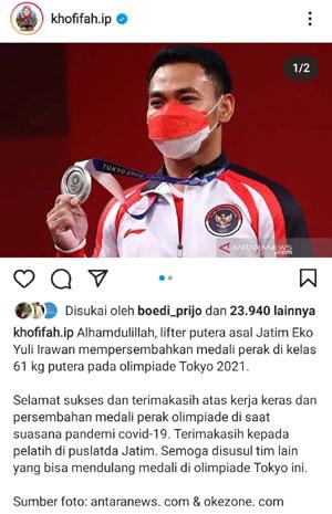 Atlet Jatim Raih Medali Perak Olimpiade